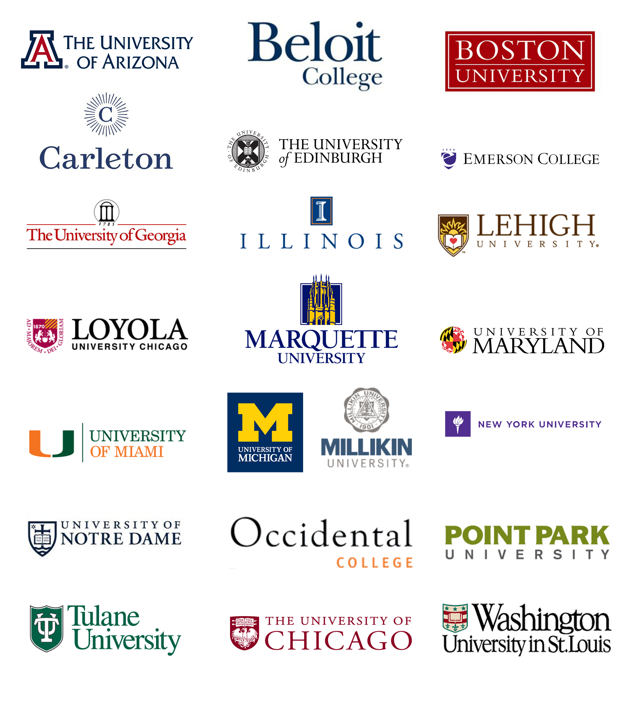 Class of 2012 College Placement Logos